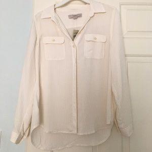 LOFT Petite White Button Down Shirt